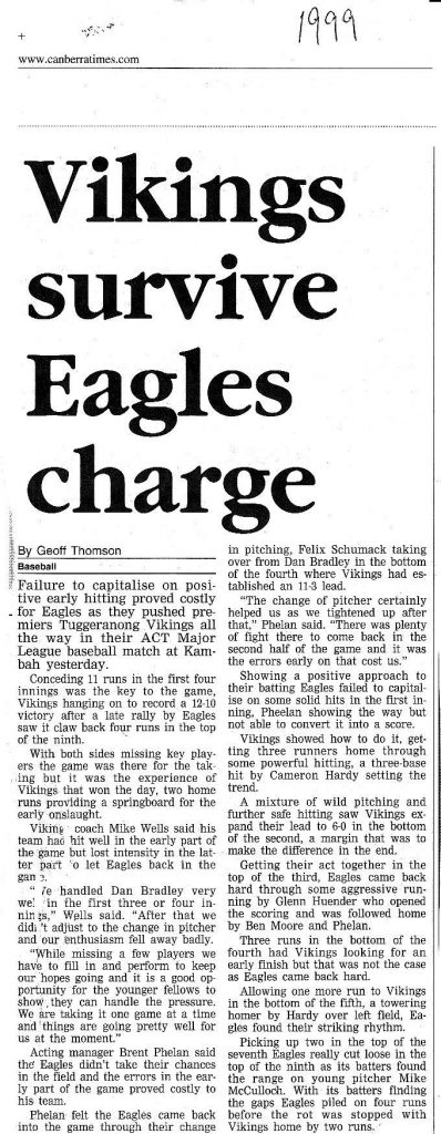 Canberra Times 1999 - Vikings survive Eagles charge
