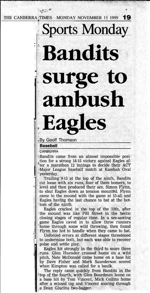 Canberra Times Nov 15 1999 Part 1 - Bandits surge to ambush Eagles
